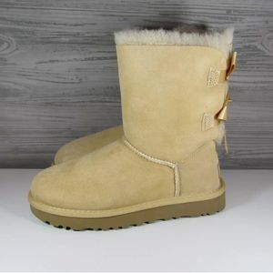 5185373c9ca UGG Women's Bailey Bow 2 II Boots Soft Ochre color NWT